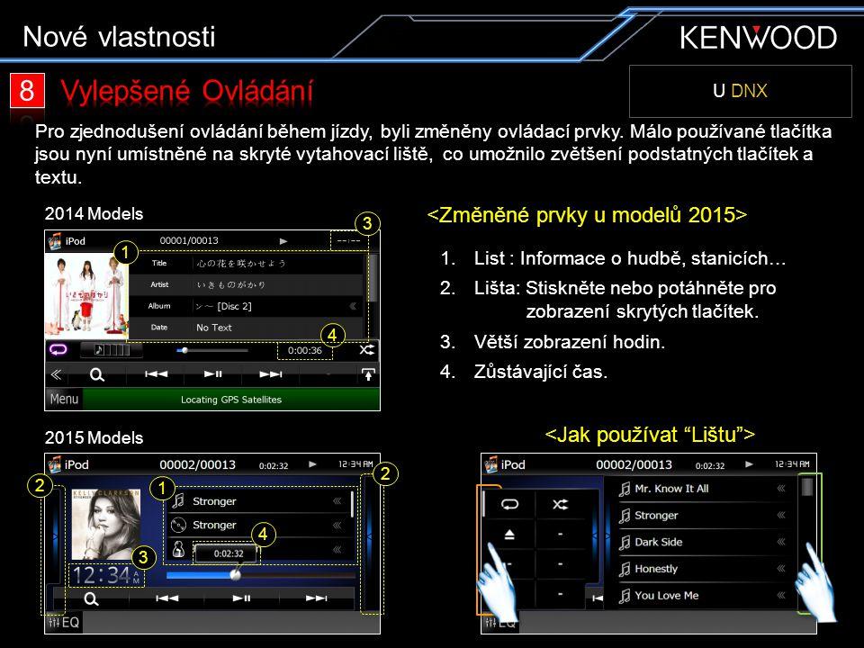U DNX Pro zjednodušení ovládání během jízdy, byli změněny ovládací prvky. Málo používané tlačítka jsou nyní umístněné na skryté vytahovací liště, co u