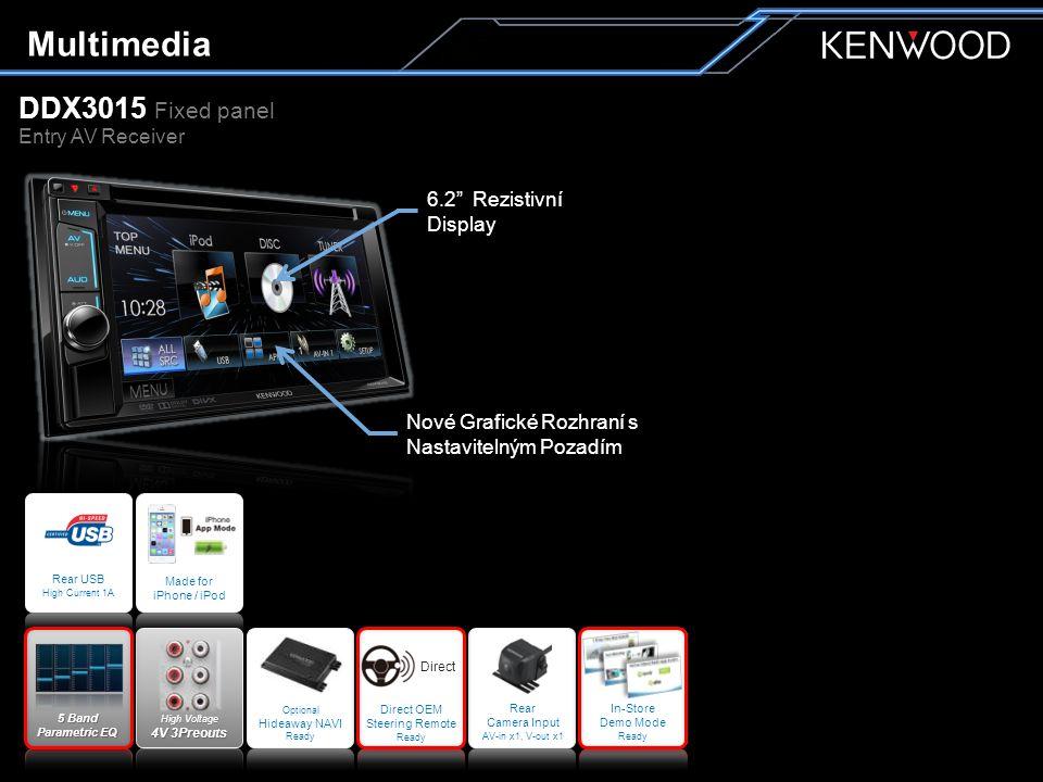 """DDX3015 Fixed panel Entry AV Receiver Multimedia 6.2"""" Rezistivní Display Nové Grafické Rozhraní s Nastavitelným Pozadím Optional Hideaway NAVI Ready H"""