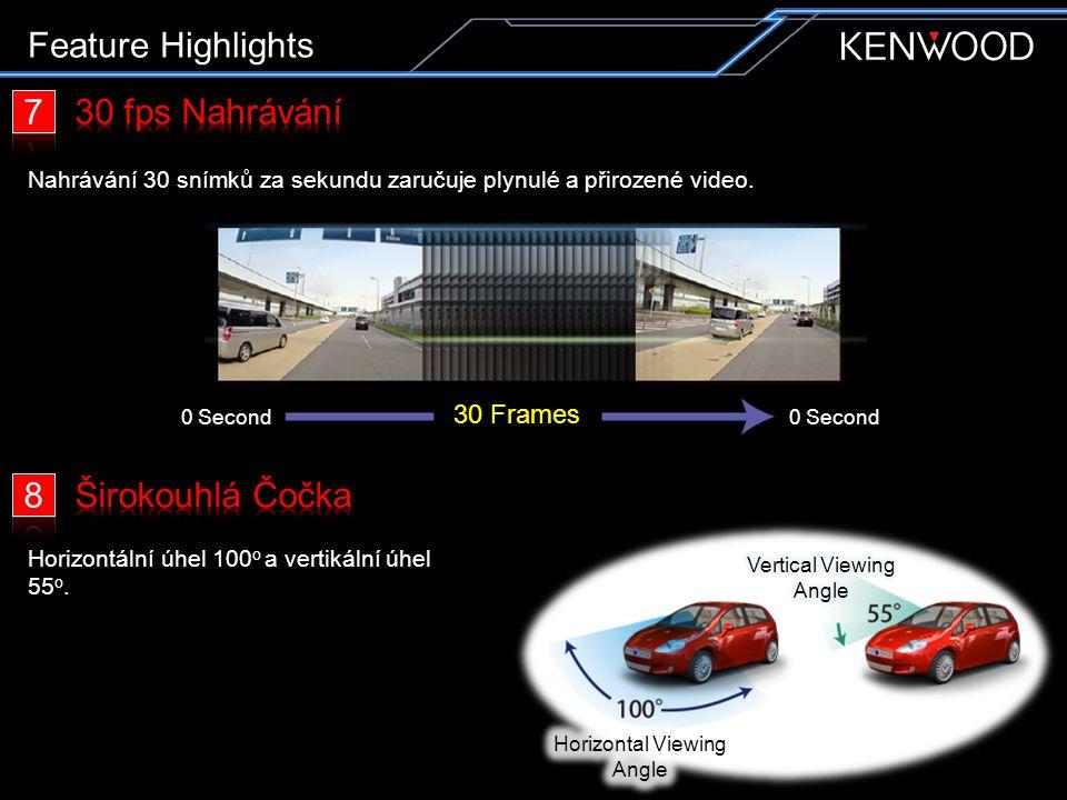 Feature Highlights Nahrávání 30 snímků za sekundu zaručuje plynulé a přirozené video. Horizontální úhel 100 o a vertikální úhel 55 o. 30 Frames 0 Seco