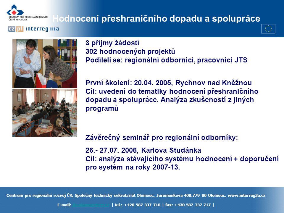 Centrum pro regionální rozvoj ČR, Společný technický sekretariát Olomouc, Jeremenkova 40B,779 00 Olomouc, www.interreg3a.cz E-mail: jts.olomouc@crr.cz | tel.: +420 587 337 710 | fax: +420 587 337 717 |jts.olomouc@crr.cz Informační činnost www.interreg3a.cz Informativní semináře pro potenciální žadatele – JTS + ŘO, NO, RPK, zprostředkující subjekty, euroregiony Články v tisku, letáky Výstava prezentující dobré projekty – harmonogram na www.interreg3a.cz Mapy podporovaného území, propagační předměty a materiály Setkání s jinými institucemi zapojenými do realizace programu (ŘO, NO, RPK, ZS)