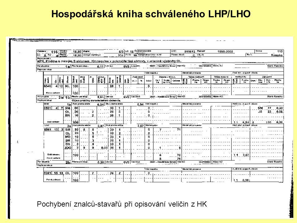 Hospodářská kniha schváleného LHP/LHO Pochybení znalců-stavařů při opisování veličin z HK