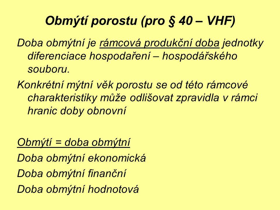 Obmýtí porostu (pro § 40 – VHF) Doba obmýtní je rámcová produkční doba jednotky diferenciace hospodaření – hospodářského souboru. Konkrétní mýtní věk