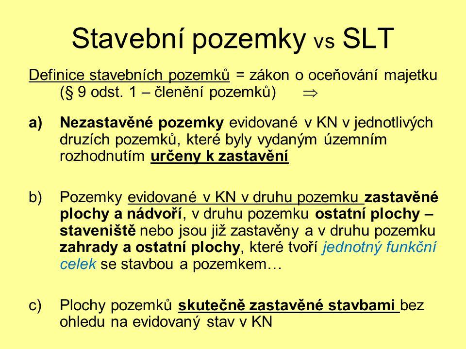 Stavební pozemky vs SLT Definice stavebních pozemků = zákon o oceňování majetku (§ 9 odst. 1 – členění pozemků)  a)Nezastavěné pozemky evidované v KN