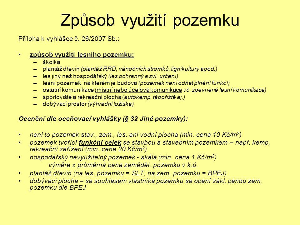Způsob využití pozemku Příloha k vyhlášce č. 26/2007 Sb.: způsob využití lesního pozemku: –školka –plantáž dřevin (plantáž RRD, vánočních stromků, lig