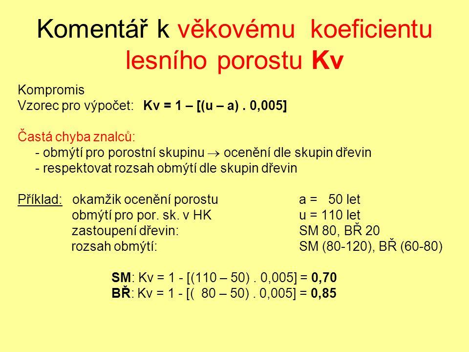 Komentář k věkovému koeficientu lesního porostu Kv Kompromis Vzorec pro výpočet: Kv = 1 – [(u – a). 0,005] Častá chyba znalců: - obmýtí pro porostní s