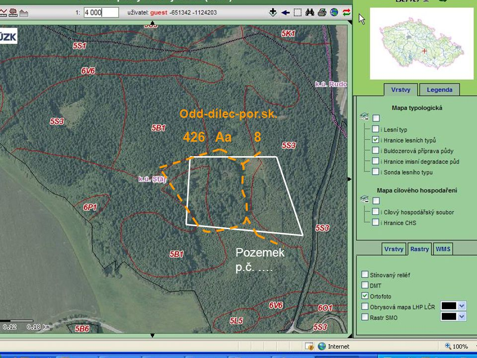 Na této pozemkové parcele je po provedené těžbě již jiný stav než na počátku platnosti LHP/LHO, který je uveden v hospodářské knize !!!
