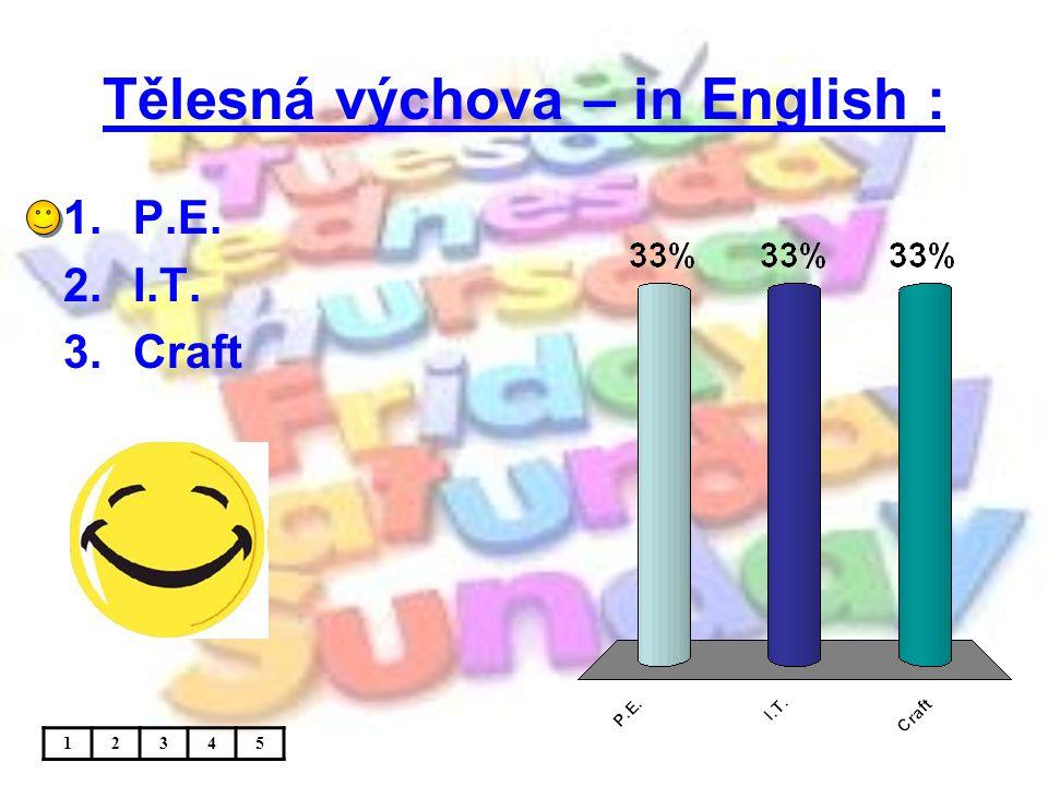 Tělesná výchova – in English : 1.P.E. 2.I.T. 3.Craft 12345