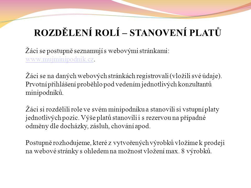 ROZDĚLENÍ ROLÍ – STANOVENÍ PLATŮ Žáci se postupně seznamují s webovými stránkami: www.mujminipodnik.cz.