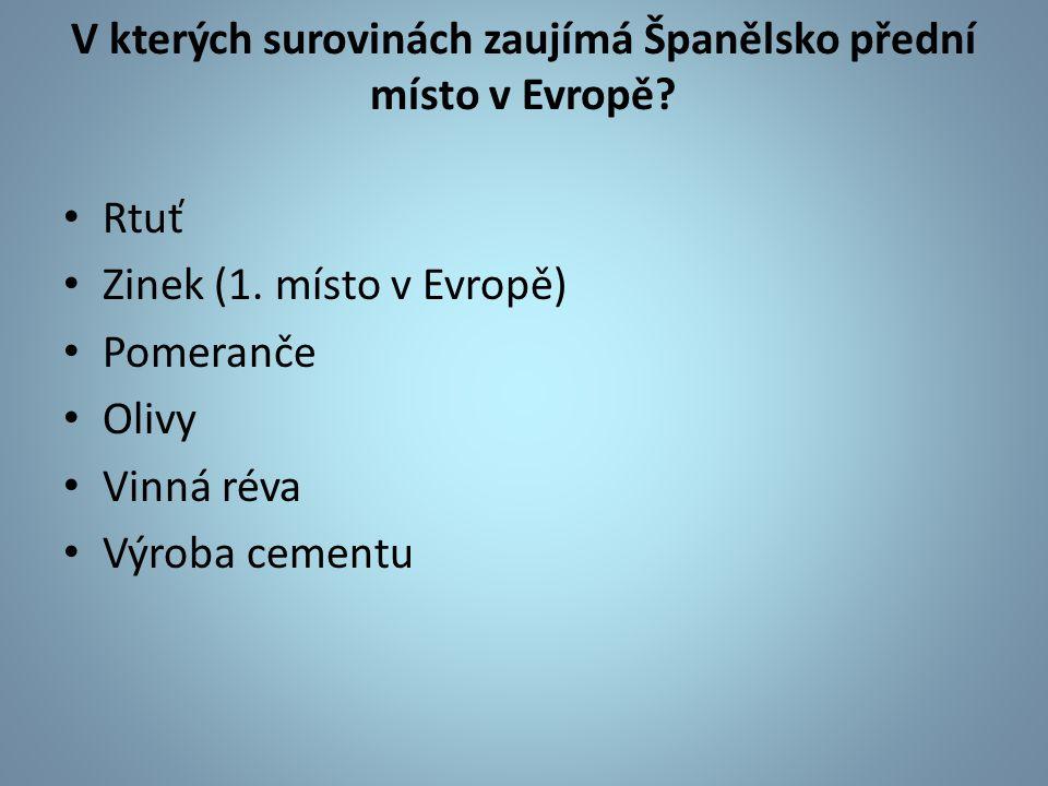 V kterých surovinách zaujímá Španělsko přední místo v Evropě? Rtuť Zinek (1. místo v Evropě) Pomeranče Olivy Vinná réva Výroba cementu
