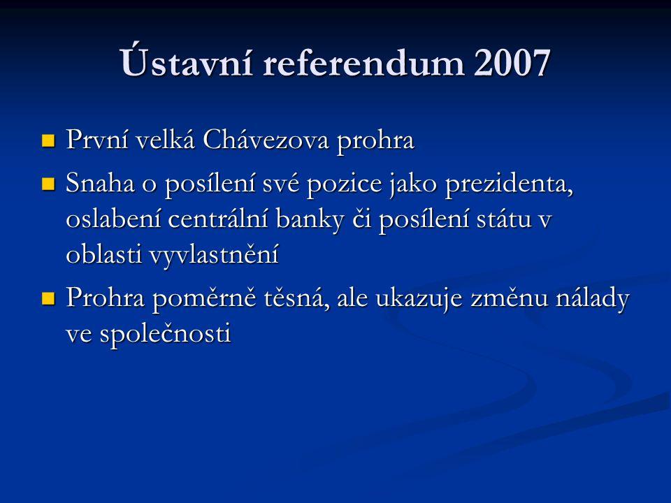 Ústavní referendum 2007 První velká Chávezova prohra První velká Chávezova prohra Snaha o posílení své pozice jako prezidenta, oslabení centrální bank