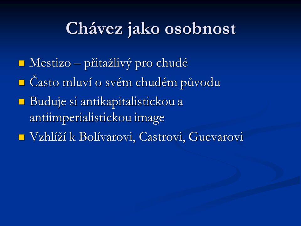 Chávez jako osobnost Mestizo – přitažlivý pro chudé Mestizo – přitažlivý pro chudé Často mluví o svém chudém původu Často mluví o svém chudém původu B