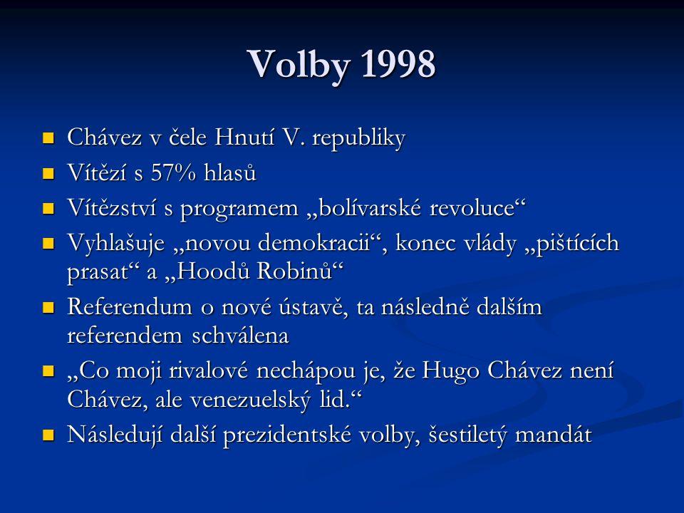 """Volby 1998 Chávez v čele Hnutí V. republiky Chávez v čele Hnutí V. republiky Vítězí s 57% hlasů Vítězí s 57% hlasů Vítězství s programem """"bolívarské r"""