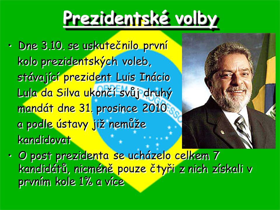 Dne 3.10. se uskutečnilo první kolo prezidentských voleb, stávající prezident Luis Inácio Lula da Silva ukončí svůj druhý mandát dne 31. prosince 2010