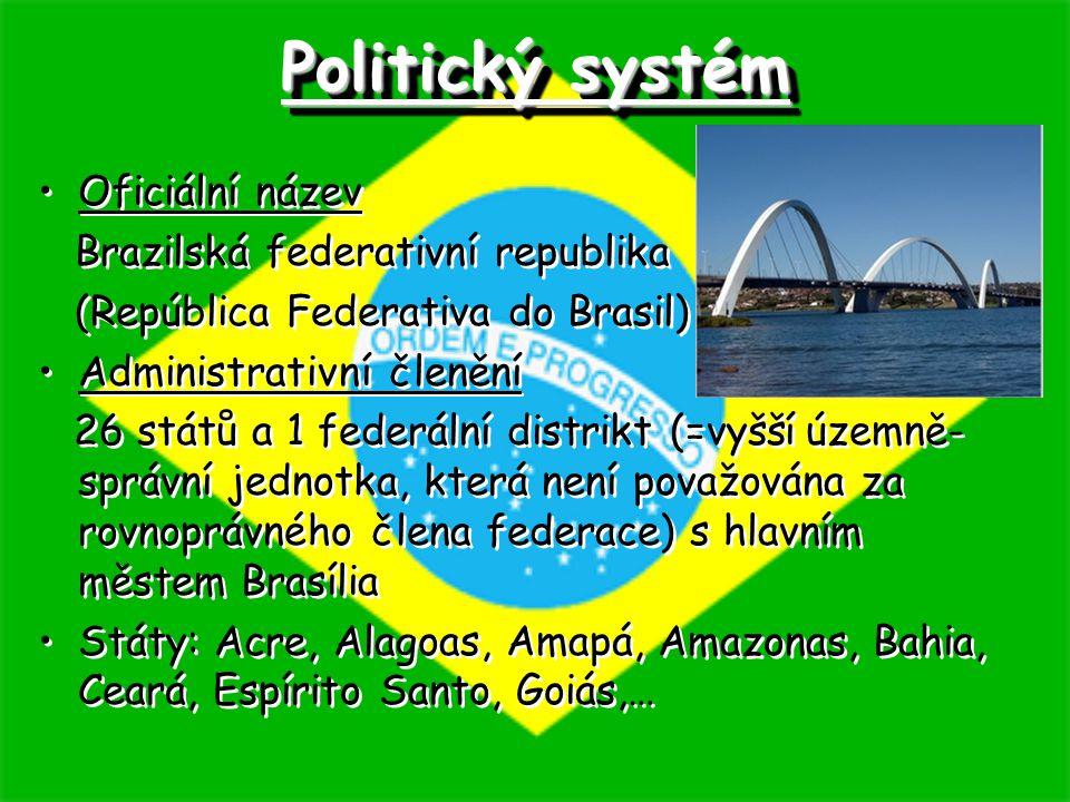 Politický systém Oficiální název Brazilská federativní republika (República Federativa do Brasil) Administrativní členění 26 států a 1 federální distr
