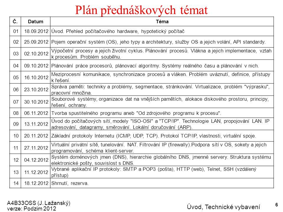 A4B33OSS (J.Lažanský) verze: Podzim 2012 Úvod, Technické vybavení 7 Proč studovat OS.