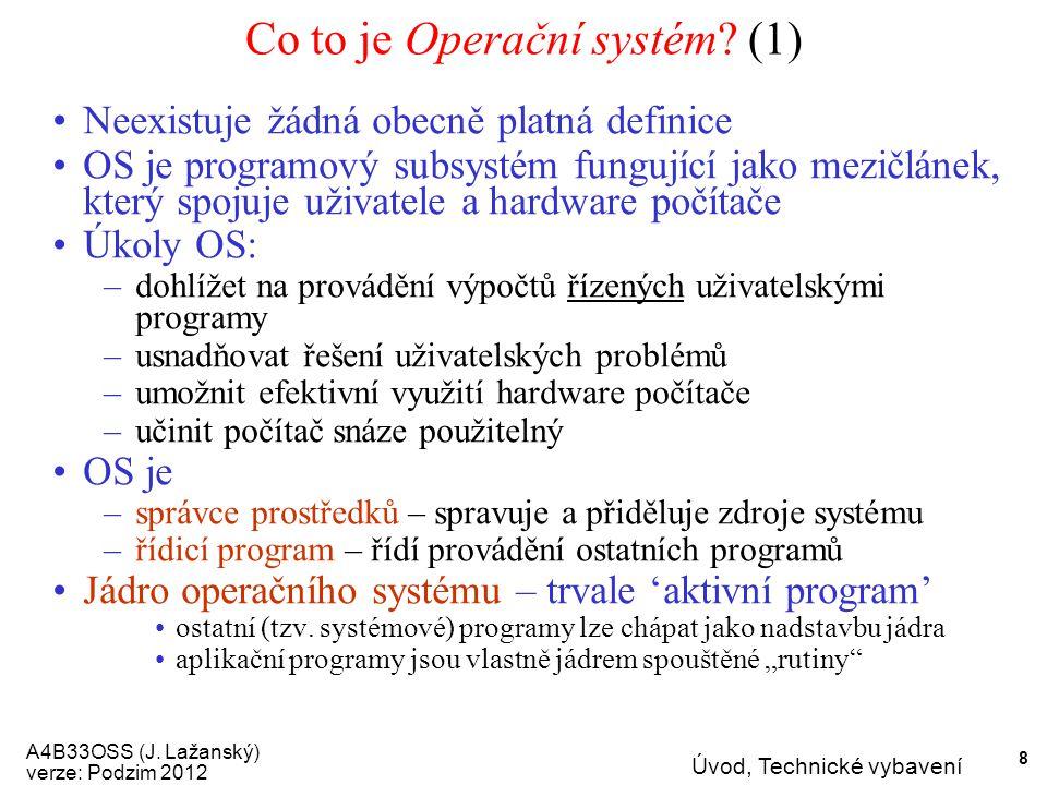 A4B33OSS (J.Lažanský) verze: Podzim 2012 Úvod, Technické vybavení 9 Co to je Operační systém.