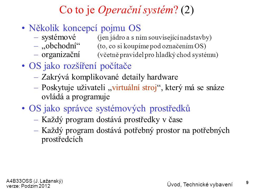 A4B33OSS (J. Lažanský) verze: Podzim 2012 Úvod, Technické vybavení 9 Co to je Operační systém.