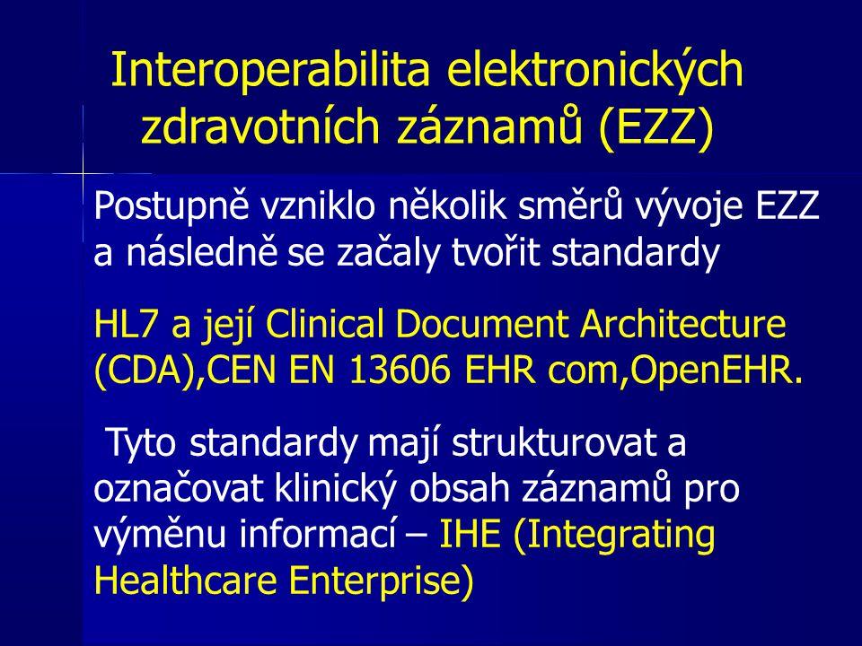 Interoperabilita elektronických zdravotních záznamů (EZZ) Postupně vzniklo několik směrů vývoje EZZ a následně se začaly tvořit standardy HL7 a její C