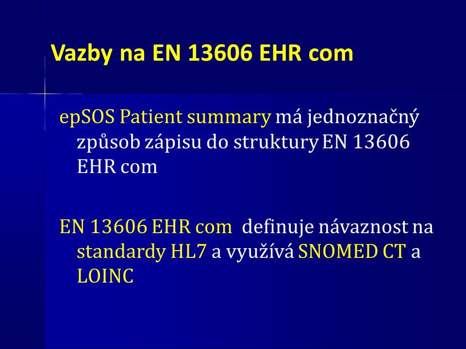 Vazby na EN 13606 EHR com epSOS Patient summary má jednoznačný způsob zápisu do struktury EN 13606 EHR com EN 13606 EHR com definuje návaznost na stan