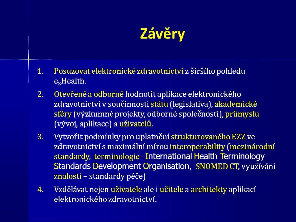 Závěry 1.Posuzovat elektronické zdravotnictví z širšího pohledu e 3 Health. 2.Otevřeně a odborně hodnotit aplikace elektronického zdravotnictví v souč
