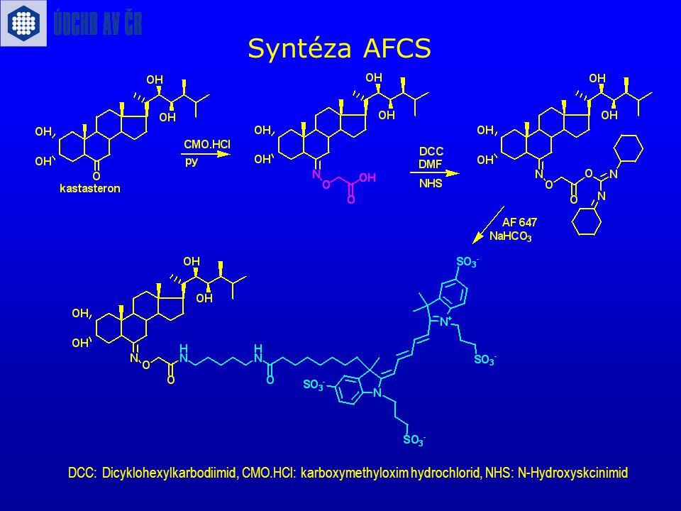 Syntéza AFCS DCC: Dicyklohexylkarbodiimid, CMO.HCl: karboxymethyloxim hydrochlorid, NHS: N-Hydroxyskcinimid