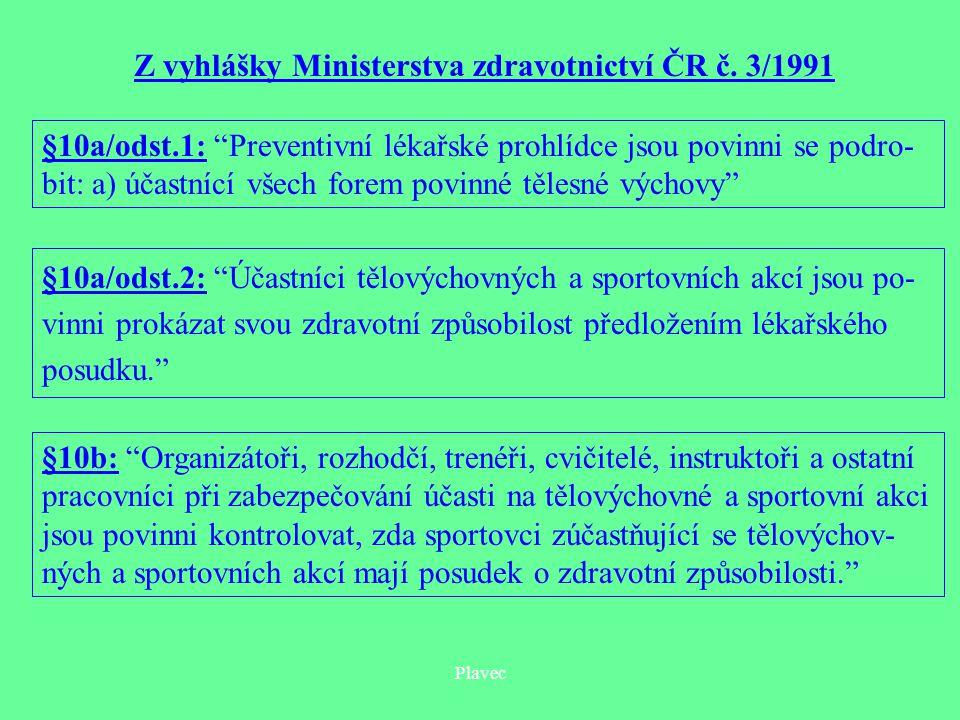 Plavec Z vyhlášky Ministerstva zdravotnictví ČR č.