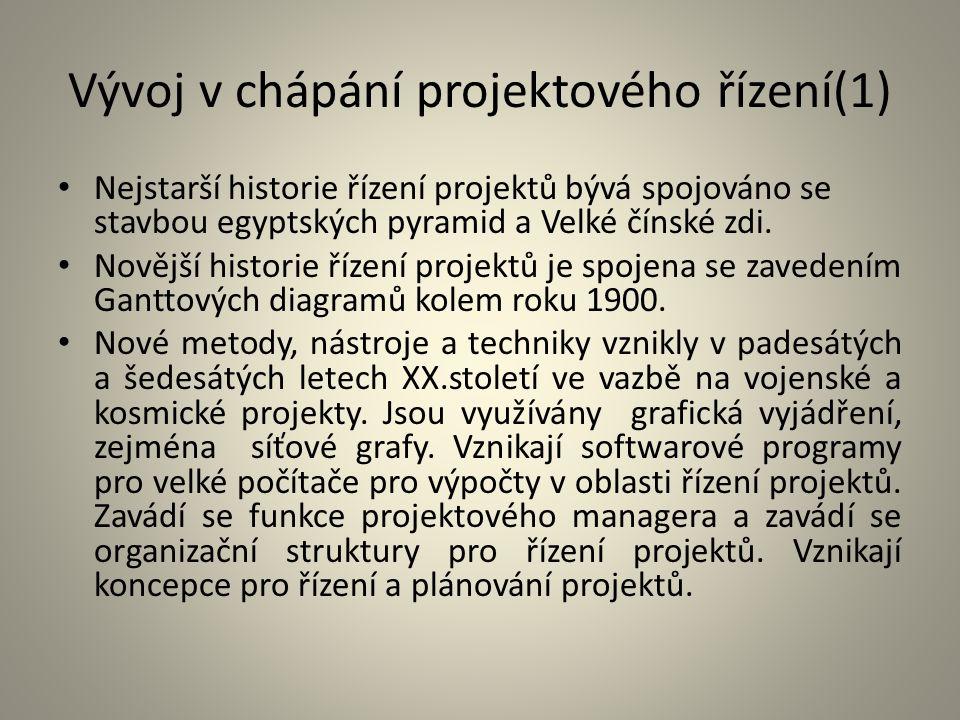 Vývoj v chápání projektového řízení(1) Nejstarší historie řízení projektů bývá spojováno se stavbou egyptských pyramid a Velké čínské zdi. Novější his