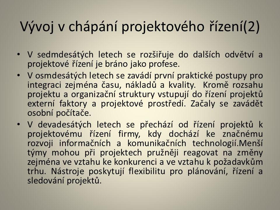 Vývoj v chápání projektového řízení(2) V sedmdesátých letech se rozšiřuje do dalších odvětví a projektové řízení je bráno jako profese. V osmdesátých
