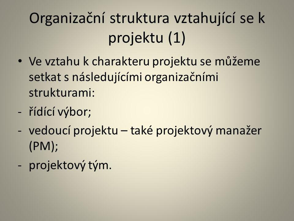Organizační struktura vztahující se k projektu (1) Ve vztahu k charakteru projektu se můžeme setkat s následujícími organizačními strukturami: -řídící
