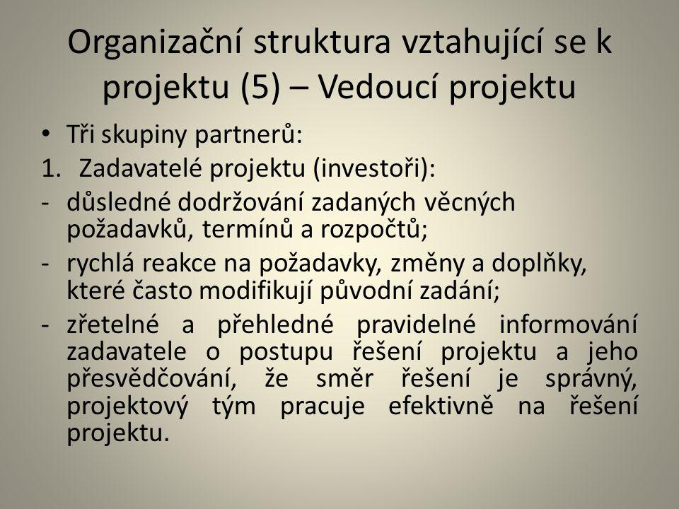 Organizační struktura vztahující se k projektu (5) – Vedoucí projektu Tři skupiny partnerů: 1.Zadavatelé projektu (investoři): -důsledné dodržování za