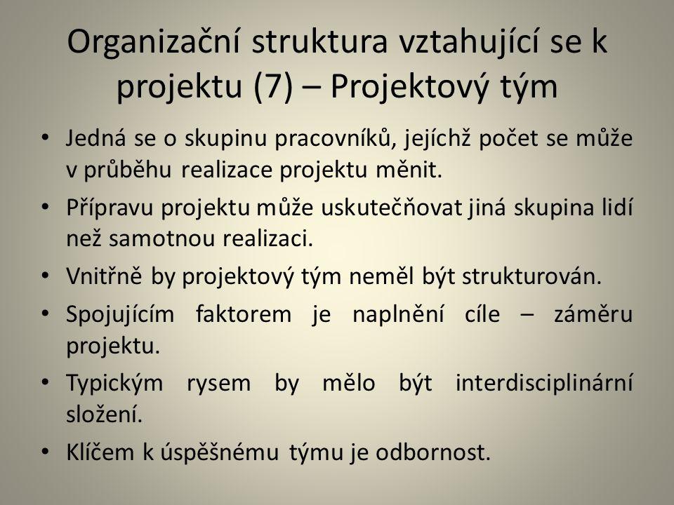 Organizační struktura vztahující se k projektu (7) – Projektový tým Jedná se o skupinu pracovníků, jejíchž počet se může v průběhu realizace projektu