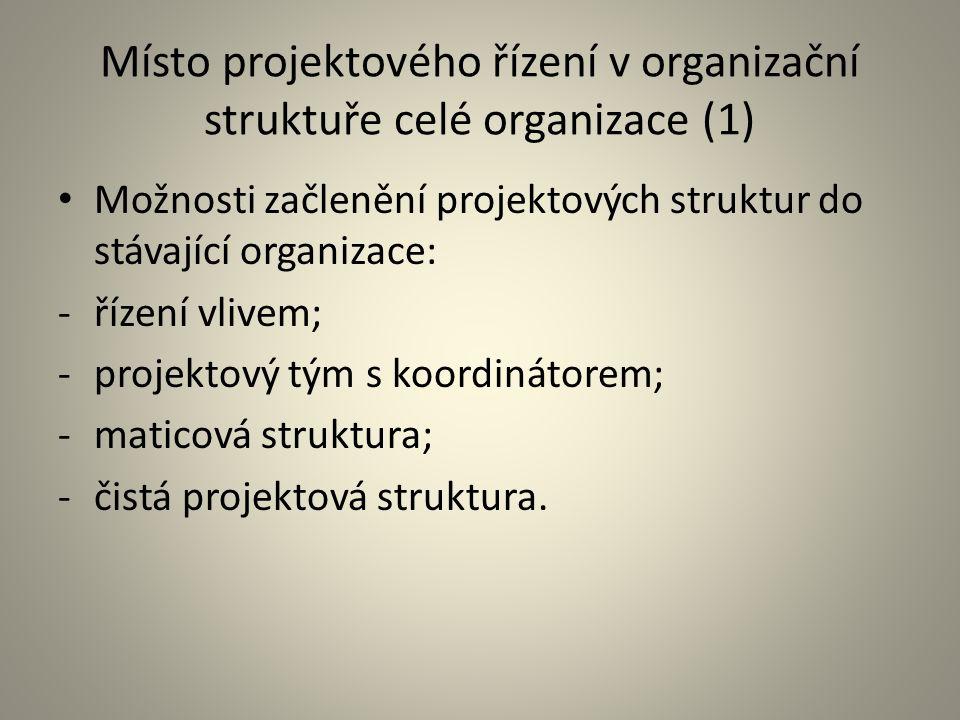 Místo projektového řízení v organizační struktuře celé organizace (1) Možnosti začlenění projektových struktur do stávající organizace: -řízení vlivem