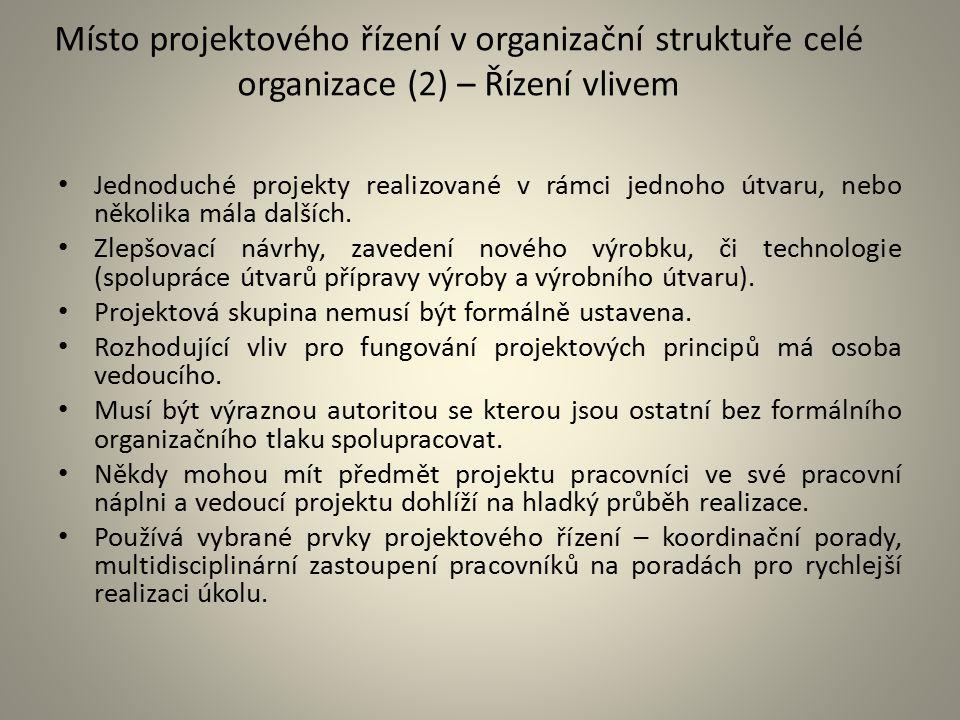 Místo projektového řízení v organizační struktuře celé organizace (2) – Řízení vlivem Jednoduché projekty realizované v rámci jednoho útvaru, nebo něk
