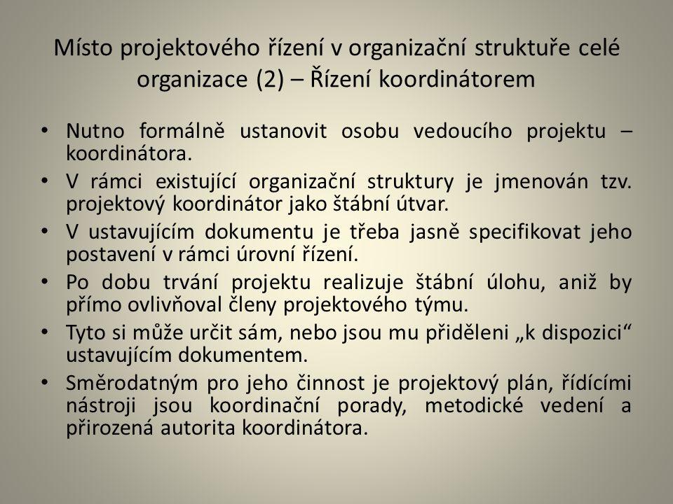 Místo projektového řízení v organizační struktuře celé organizace (2) – Řízení koordinátorem Nutno formálně ustanovit osobu vedoucího projektu – koord