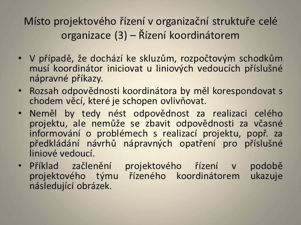 Místo projektového řízení v organizační struktuře celé organizace (3) – Řízení koordinátorem V případě, že dochází ke skluzům, rozpočtovým schodkům mu