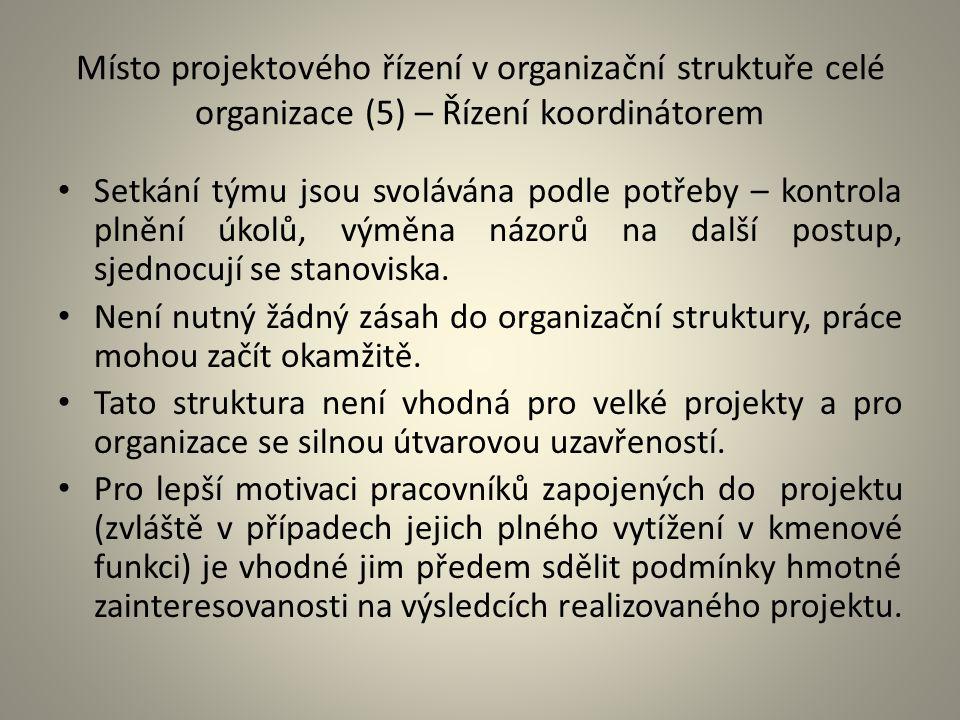 Místo projektového řízení v organizační struktuře celé organizace (5) – Řízení koordinátorem Setkání týmu jsou svolávána podle potřeby – kontrola plně