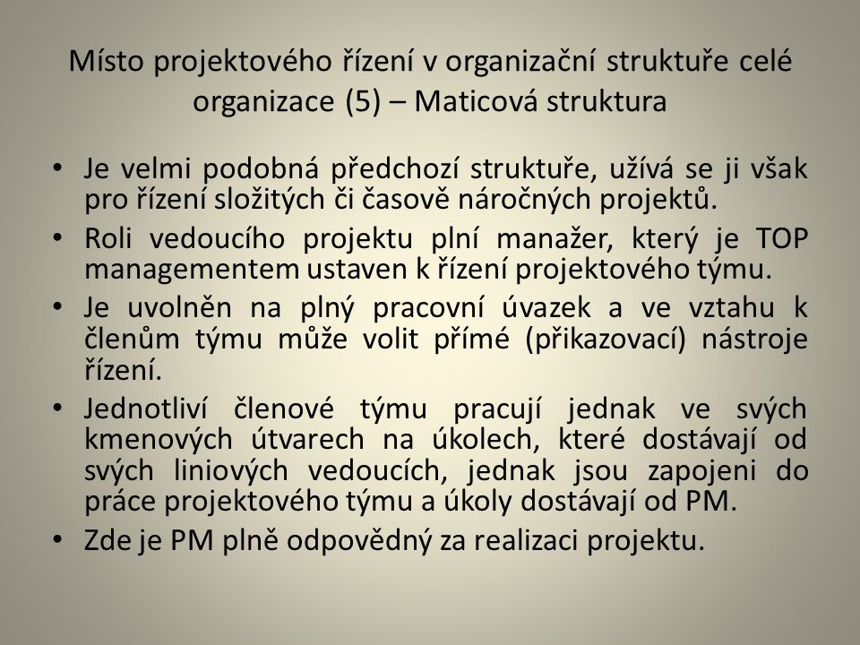 Místo projektového řízení v organizační struktuře celé organizace (5) – Maticová struktura Je velmi podobná předchozí struktuře, užívá se ji však pro