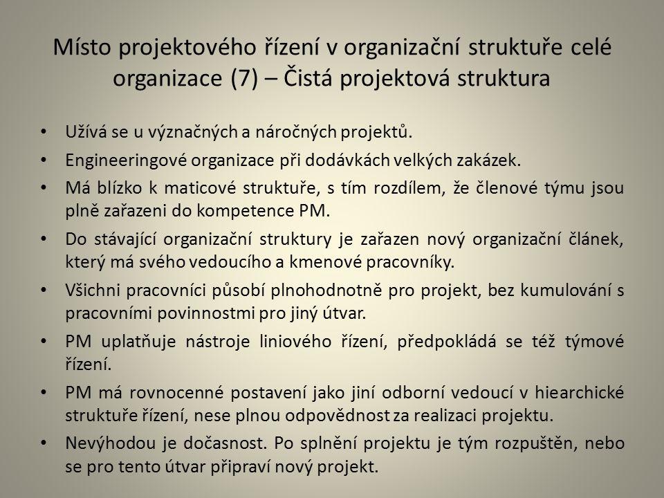 Místo projektového řízení v organizační struktuře celé organizace (7) – Čistá projektová struktura Užívá se u význačných a náročných projektů. Enginee