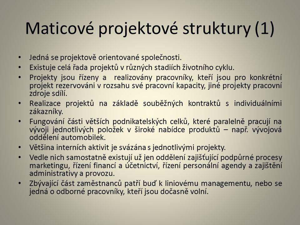 Maticové projektové struktury (1) Jedná se projektově orientované společnosti. Existuje celá řada projektů v různých stadiích životního cyklu. Projekt