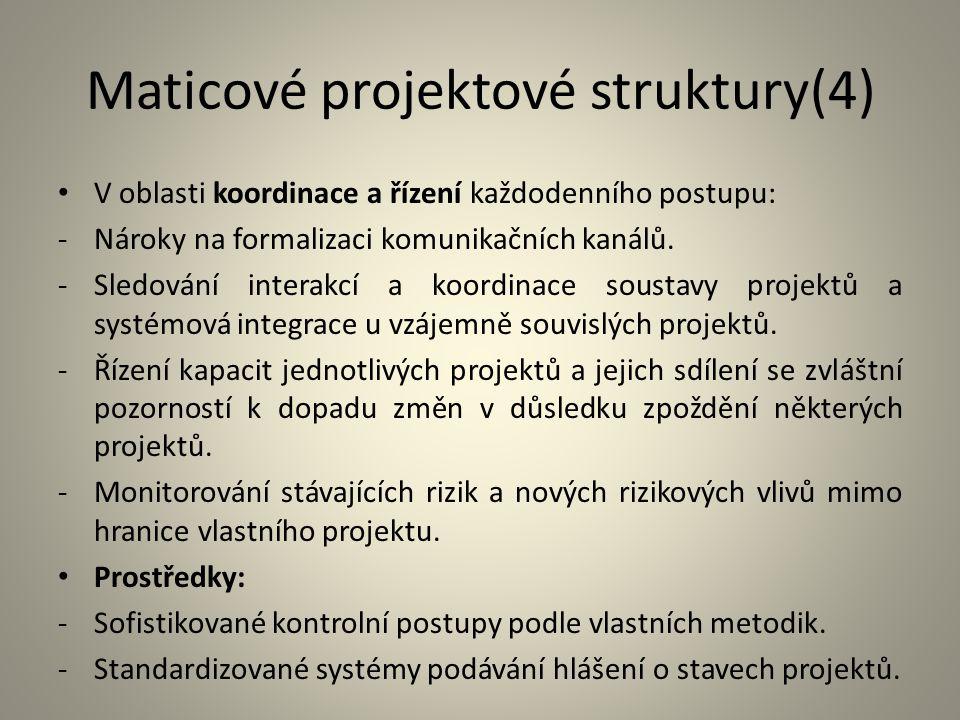 Maticové projektové struktury(4) V oblasti koordinace a řízení každodenního postupu: -Nároky na formalizaci komunikačních kanálů. -Sledování interakcí