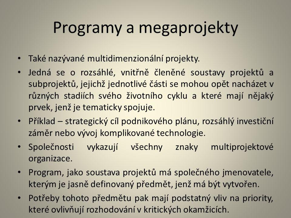 Programy a megaprojekty Také nazývané multidimenzionální projekty. Jedná se o rozsáhlé, vnitřně členěné soustavy projektů a subprojektů, jejichž jedno