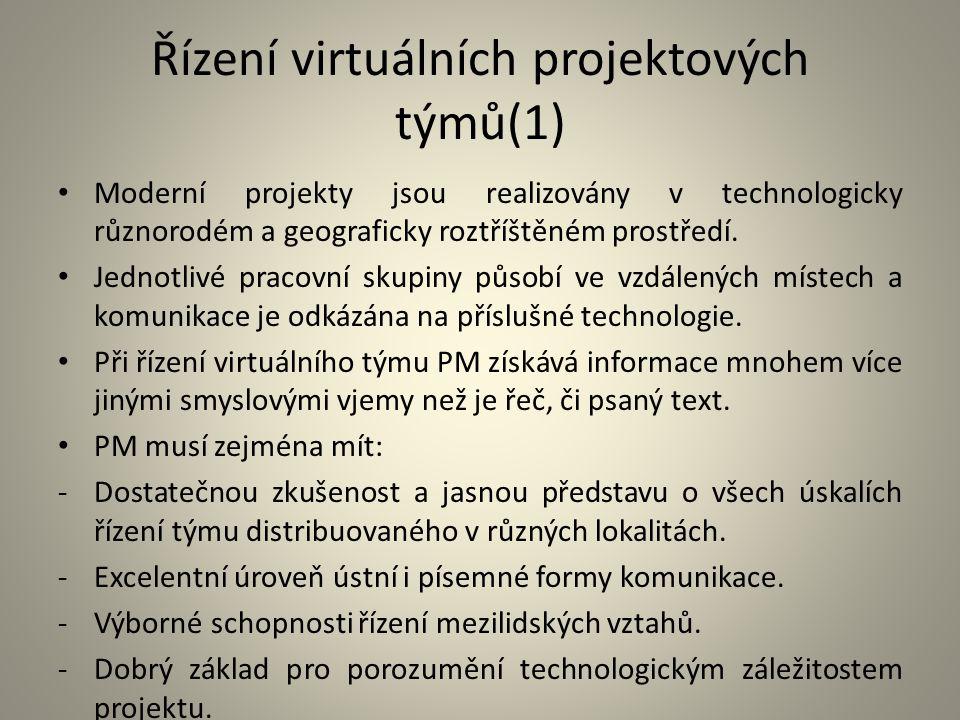 Řízení virtuálních projektových týmů(1) Moderní projekty jsou realizovány v technologicky různorodém a geograficky roztříštěném prostředí. Jednotlivé