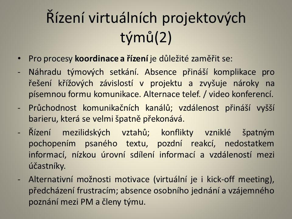 Řízení virtuálních projektových týmů(2) Pro procesy koordinace a řízení je důležité zaměřit se: -Náhradu týmových setkání. Absence přináší komplikace
