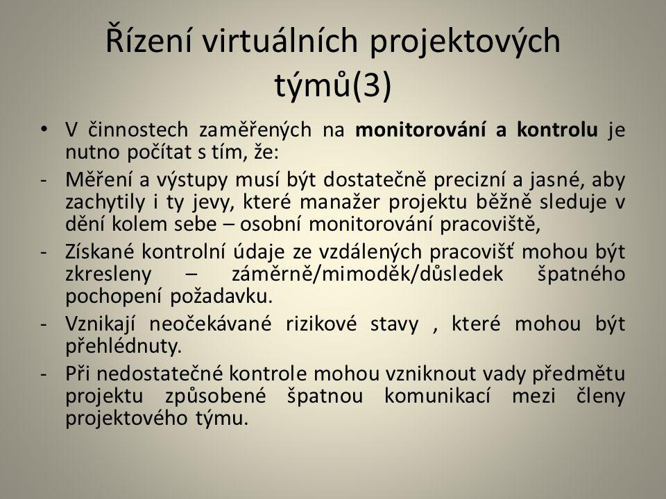 Řízení virtuálních projektových týmů(3) V činnostech zaměřených na monitorování a kontrolu je nutno počítat s tím, že: -Měření a výstupy musí být dost