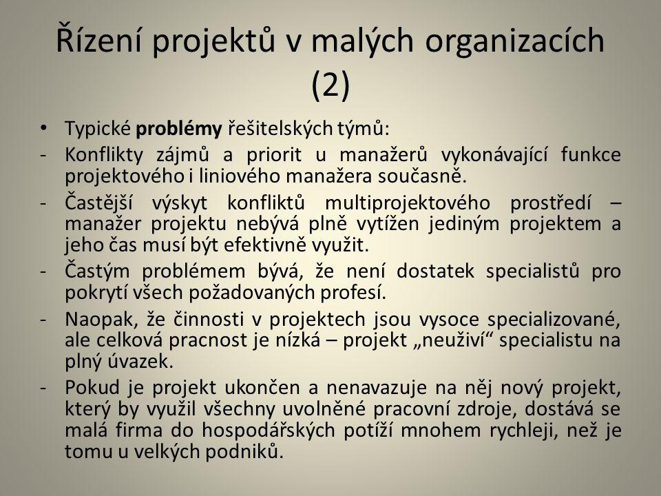 Řízení projektů v malých organizacích (2) Typické problémy řešitelských týmů: -Konflikty zájmů a priorit u manažerů vykonávající funkce projektového i