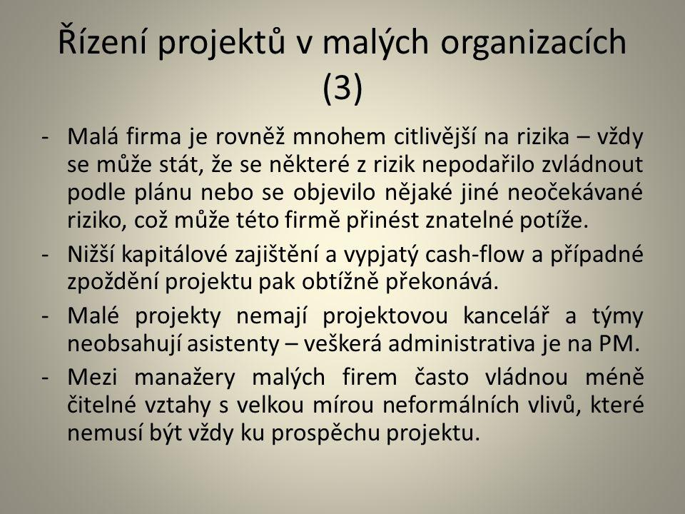 Řízení projektů v malých organizacích (3) -Malá firma je rovněž mnohem citlivější na rizika – vždy se může stát, že se některé z rizik nepodařilo zvlá