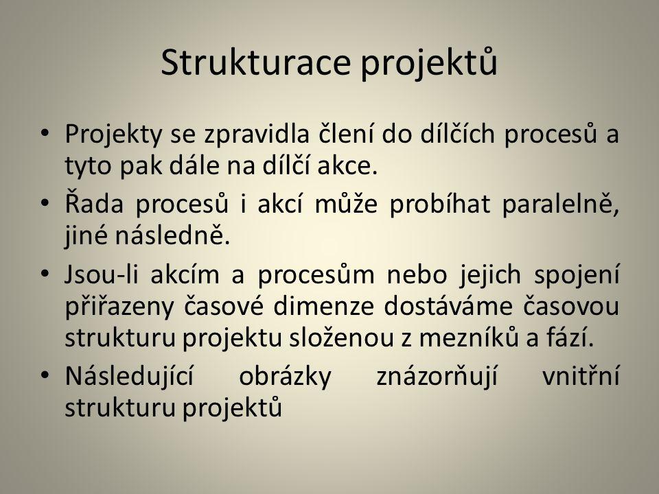 Strukturace projektů Projekty se zpravidla člení do dílčích procesů a tyto pak dále na dílčí akce. Řada procesů i akcí může probíhat paralelně, jiné n