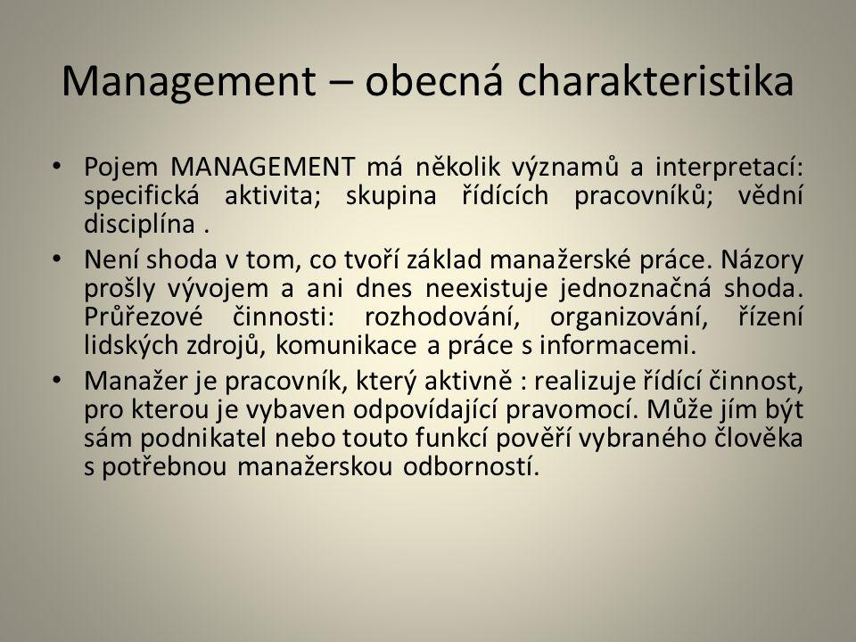 Management – obecná charakteristika Pojem MANAGEMENT má několik významů a interpretací: specifická aktivita; skupina řídících pracovníků; vědní discip