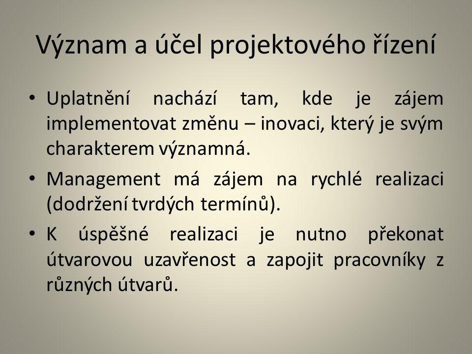 Význam a účel projektového řízení Uplatnění nachází tam, kde je zájem implementovat změnu – inovaci, který je svým charakterem významná. Management má