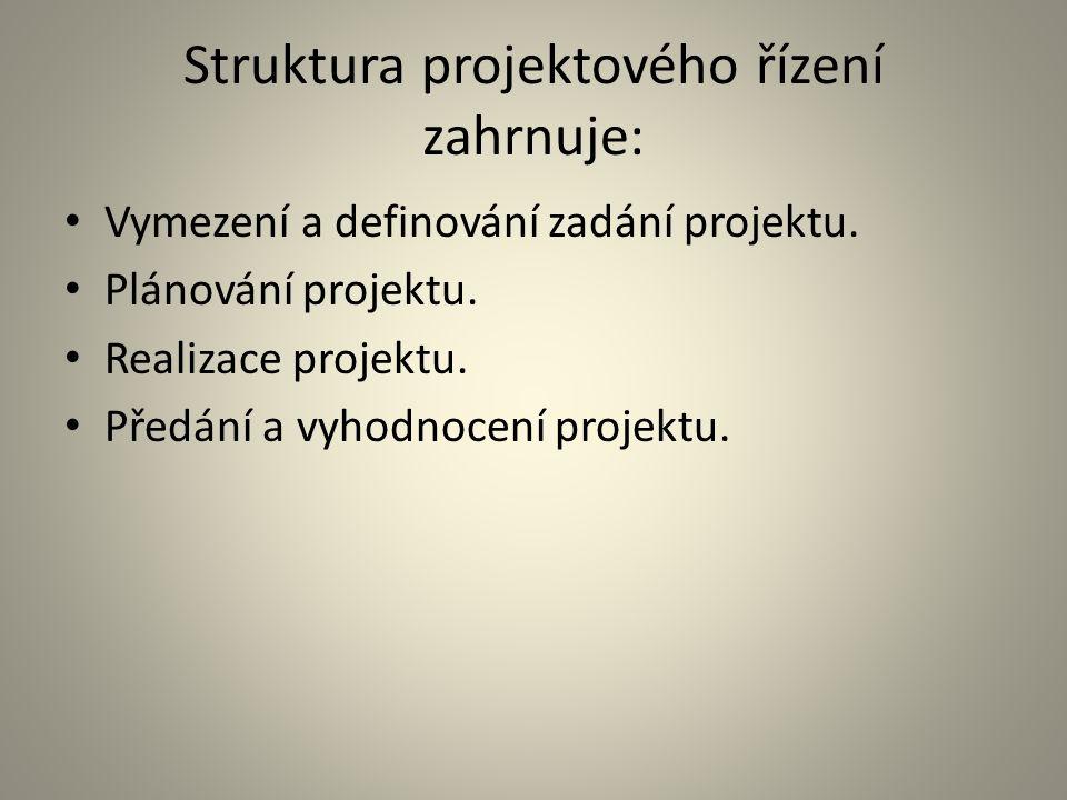 Struktura projektového řízení zahrnuje: Vymezení a definování zadání projektu. Plánování projektu. Realizace projektu. Předání a vyhodnocení projektu.